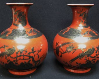 Matched Pair Chinese Red Glaze Porcelain Flower Phoenix Bird Vases