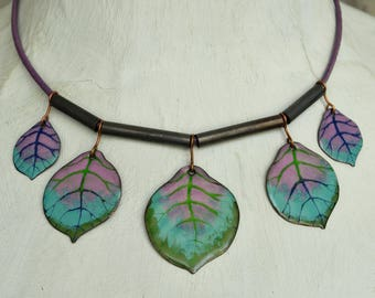 Enamel Necklace, Enamel Jewelry, Forest Necklace, Leaf Necklace, Bib Necklace, Statement Necklace, Lilac and Green, Aqua and Purple,