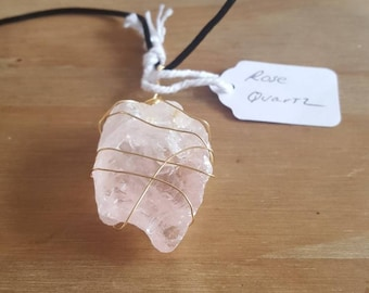 Rose Quartz Wire Wrapped necklace Hand Made Necklace
