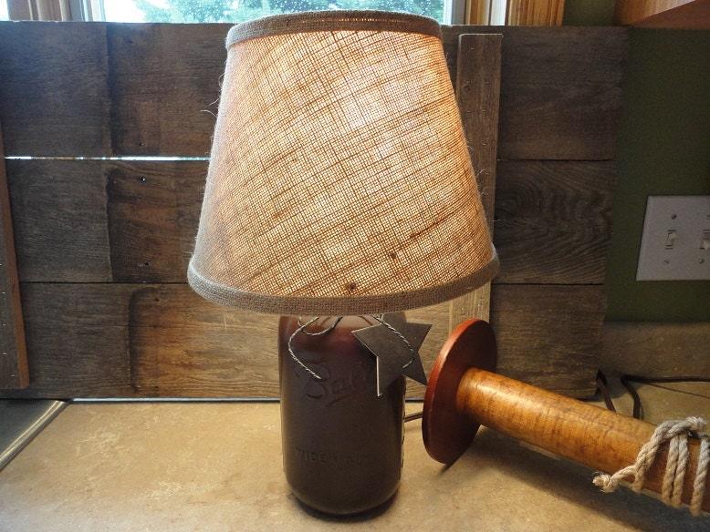 Country Lamp Rustic Brown Mason Jar Lamp Small Accent Lamp