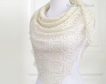 Lace bridal shawl hand knit scarf ivory white cover up wedding wrap merino triangular gift