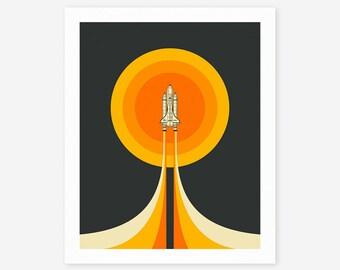 UPWARD (Giclée Fine Art Print/Photo Print/Poster Print) Space Shuttle Pop Art