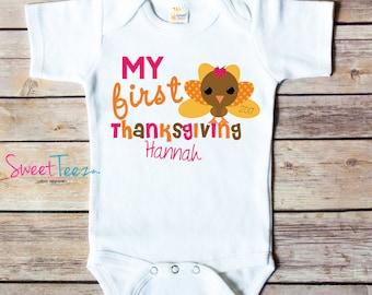 My First Thanksgiving Shirt Turkey Baby Bodysuit Personalized Boy Girl