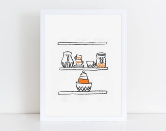 Nostalgia - Drawings from Finland. 'Cups & Jars' Risograph Art Print A4