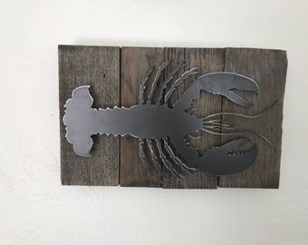 reclaimed wood and metal Lobster art rustic nautical decor