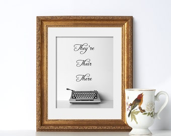 Typewriter Office Decor Typography Prints Gift for Writers Typewriter Art Typewriter Print Gift for Authors Writer Gift Typewriter Poster