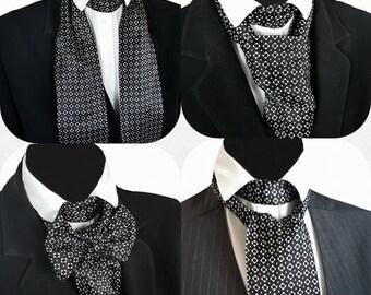 Black And White Mono Print Satin Self Tie Cravat Neck Jabot Victorian Steampunk Cosplay Theatre Wedding Races Ascot Multi Way Z40
