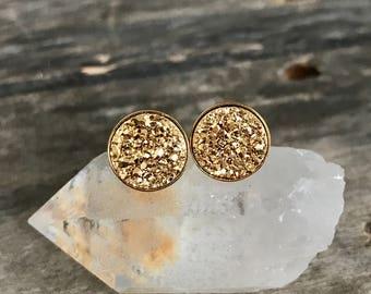 Gold Druzy Earrings, Gold Stud Earrings, Druzy Studs, Drusy Earrings, Gold Earrings, Bridesmaid Earrings, Bridesmaid Gift, Bridal Jewelry