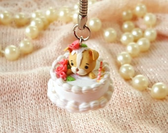 Birthday Gifts For Her - Polymer Clay Charms - Kawaii Charms - Polymer Clay Puppy - Polymer Clay Cake - Keychain