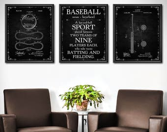 Baseball Wall Decor Set of 3 - Baseball Gifts for Boyfriend - Baseball Wall Art for Boys Room - Baseball Patent Wall Art Sports Poster 1403