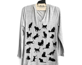Large- Heather Gray Soft Thin Hoodie Tunic Top with Cats Screen print