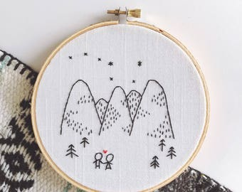 Embroidered Hoop of Rocky Mountains and Couple Holding Hands and Big Dipper Constellation • Valentines Day Gift for Him Her