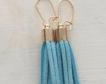 Mini Suede tassel earrings, Sky Blue