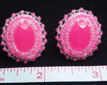 Neon Pink Glow in the Dark Stud Earrings, pink, white,