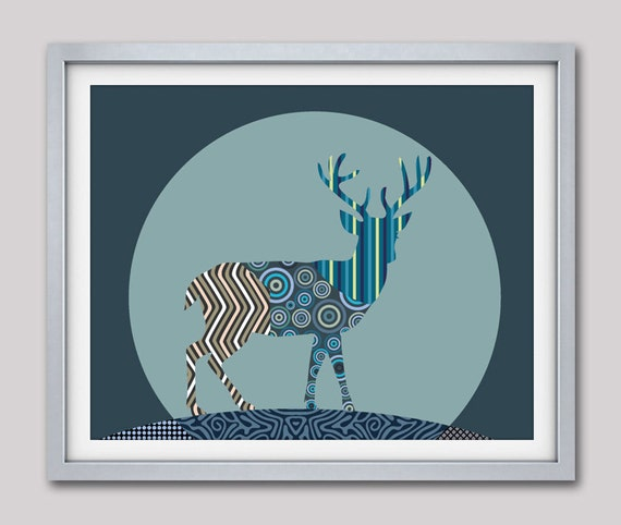 Deer Antler Decor, Deer Art Print Wall Decor, Deer Painting, Deer Gift, Animal Art Print, Teal, Blue, Sapphire, Sky Blue