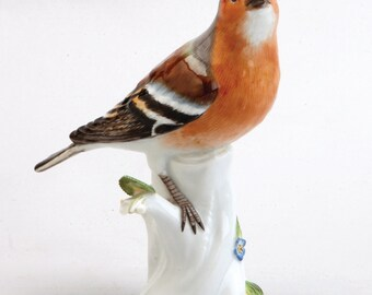 A Meissen Porcelain Figure Of A Common Chaffinch Bird, C. 1940 Blue Crossed Swords Mark, Incised Model No. 112X