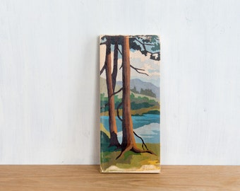 Paint by Number Art Block 'Lakeview Pines' - vintage, trees, landscape