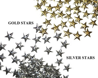 Silver Gold Stars Studs Rivets Nailheads for Iron on, Hot Fix , Glue On Crafts