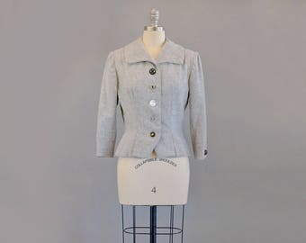 50s Jacket // 1950's Grey Wool Jacket w/ Decorative Buttons // S-M