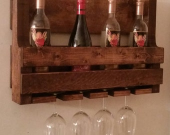 Rustic Pallet Wine Rack // Pallet Wine Rack // Liquor Cabinet // Wooden Wine Rack // Wine Glass Holder // Wine Bottle Holder