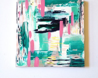 12 x12 Original Painting on Canvas OOAK / one of a kind / acrylics / modern art / wall art / abstract painting / teal white pink  kids room