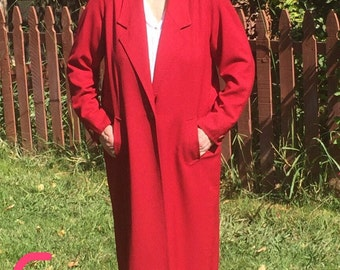 Lew MAGRAM Collection Ladies Long Dress COAT Women's RED *Size 12*  Lovely & Trendy w/Dress or Jeans - Vintage Always In Style