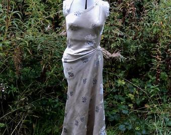 Silver Cream Vintage Chinese Silk Satin Maxi Dress