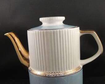 Gibsons China Teapot Staffordshire England Translucent Blue, White and Gold