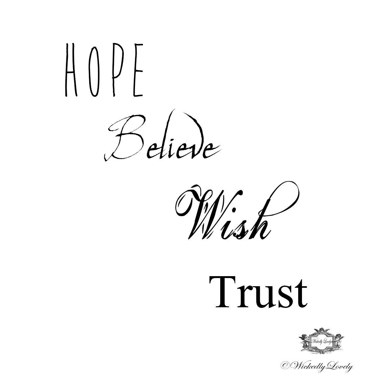Inspirational Words: Inspirational Words Set 3 Hope Believe Wish Trust Body