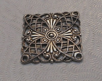 LuxeOrnaments European Filigree Antiqued Sterling Silver Plated Brass Focal (Qty 1) 20x20mm A-30519-S