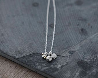 Dainty Pebble bundle with Rose Cut diamond and golden fronds necklace