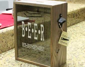 "Beer Cap Shadow Box, 10.5""x13.5""-Very Big, Rustic Reclaimed Wood, With a bottle opener, 3 different stickers to pick from."