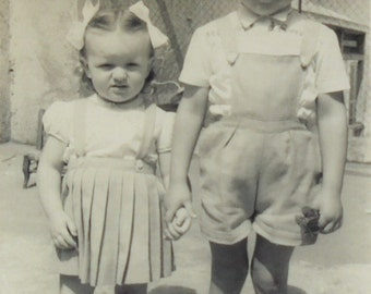 French Vintage Photo - Cute Kids Holding Hands