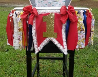 Beauty and the Beast High chair tutu / banner 1st birthday / decorations