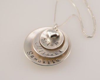 Hand stamped jewelry. Personalized mother necklace. Domed discs necklace