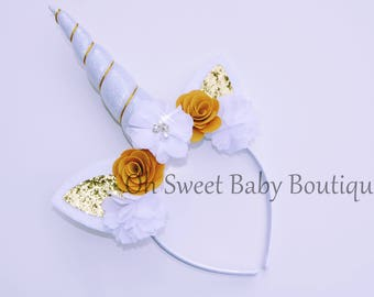 White and Gold Themed Unicorn Headband Birthday