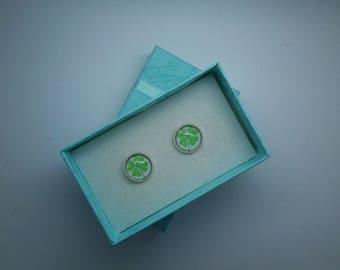 12mm Glass Cabochon Earrings/Shamrock/St Patricks Day/Ireland/Irish/12mm/Stud earrings/handmade/gift/holiday