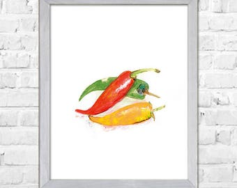 Chili Peppers Watercolor Print, Vegetables Watercolor Painting, Chili Peppers Art, Kitchen Wall Art, Kitchen Art Print, Wall Decor