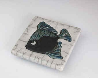 Fish Tile/Trivet. Sits Flat as a Hot Plate. Also can be wired to Hang on the Wall. Ready to Ship