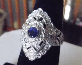Stunning & Beautiful 18k Solid White Gold Sapphire and Diamond Cocktail Ring, Stamped with Appraisal Value 2200.00 - 48 diamonds 7.7 Grams
