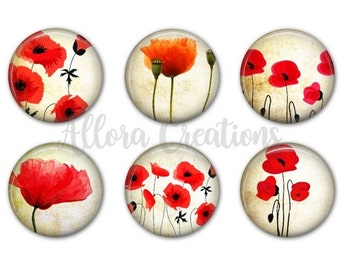 Poppies Magnet Set, Fridge Magnets, Poppy Magnets, M032
