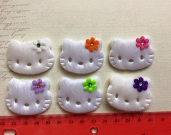 6 padded kitty Cat with Felt Flower and Gem appliques
