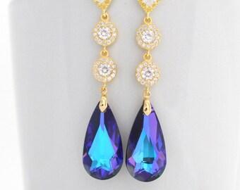 Long Luxury Gold Ultra Violet Bridal Earrings Purple Wedding Teardrop Earrings Heliotrope Swarovski Drop Wedding Earrings Purple Crystal