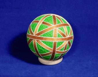 Rattling Temari Ball Ornament Gold and White on Lime Green Home Decor Wedding Gift