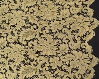 Vintage olive green guipure lace