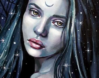 "8 x 10, Fine Art Print, ""Morgaine"", painting by Kamille Freske, pagan art, wiccan art, fantasy art, wicca, fairy, moon priestess, Morgaine"