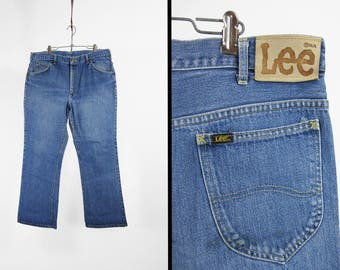 Vintage 70s Lee Denim Jeans Faded Leather Patch Riders Distressed - 36 x 29
