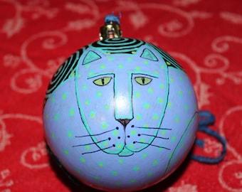 Decorative Hand Painted Purple Aqua Cat Shatterproof Ball Ornament