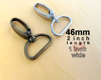 100 Pieces Swivel Spring Hooks - 2 inch long / 1 inch webbing capable (available in nickel and antique brass finish)