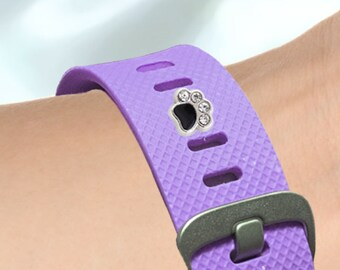 Fitness-Watch Charm, Crystal Dog Paw; Personalize your watchband with style and flair.